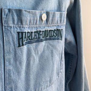 Light Wash Denim Harley Davidson Long Sleeve S